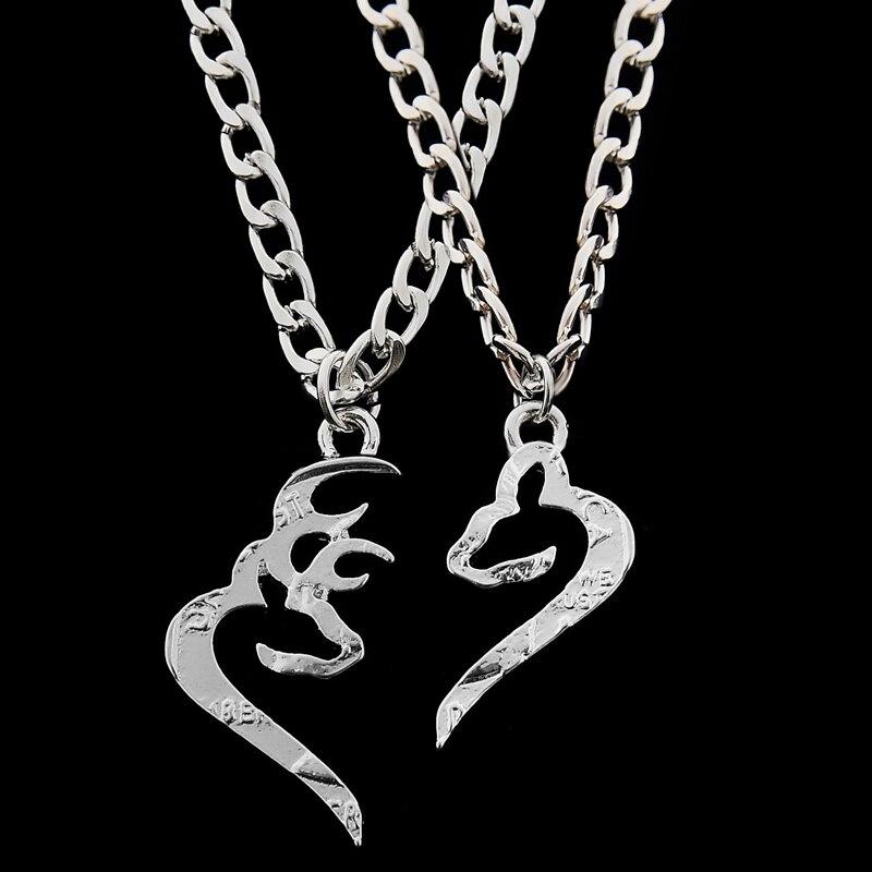 2 Pcsset Buck Doe Necklace Couples Lover Best Friends Bff