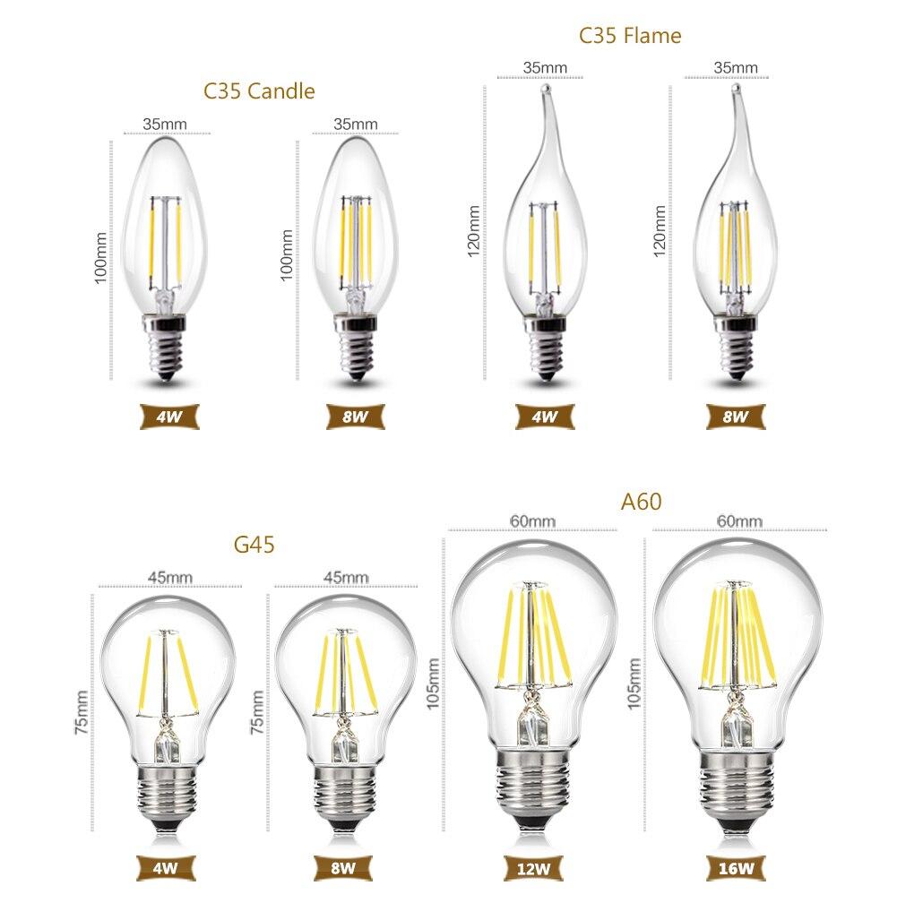 Dimmer 16W LED Lamp ST64 Golden C35 G45 A60 Light Bulb E27 E14 Retro Edison Filament Energy Save Lamp Replace Incandescent Bulb