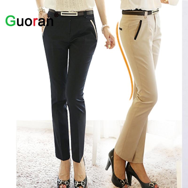 {Guoran} Office damer arbetsbyxor eleganta kvinnor plus storlek svart khaki business penna byxor kvinnlig högkvalitativ outwear