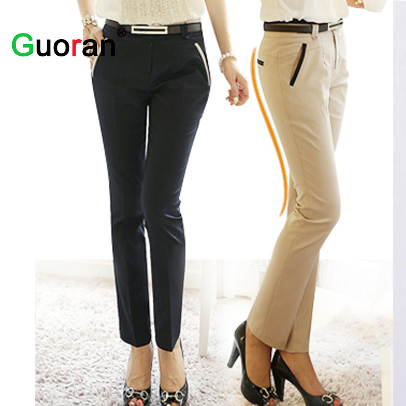 fine quality top-rated newest nice cheap US $20.34 25% OFF|{Guoran} Office ladies work trousers elegant women plus  size black khaki business pencil pants female high quality outwear-in Pants  ...