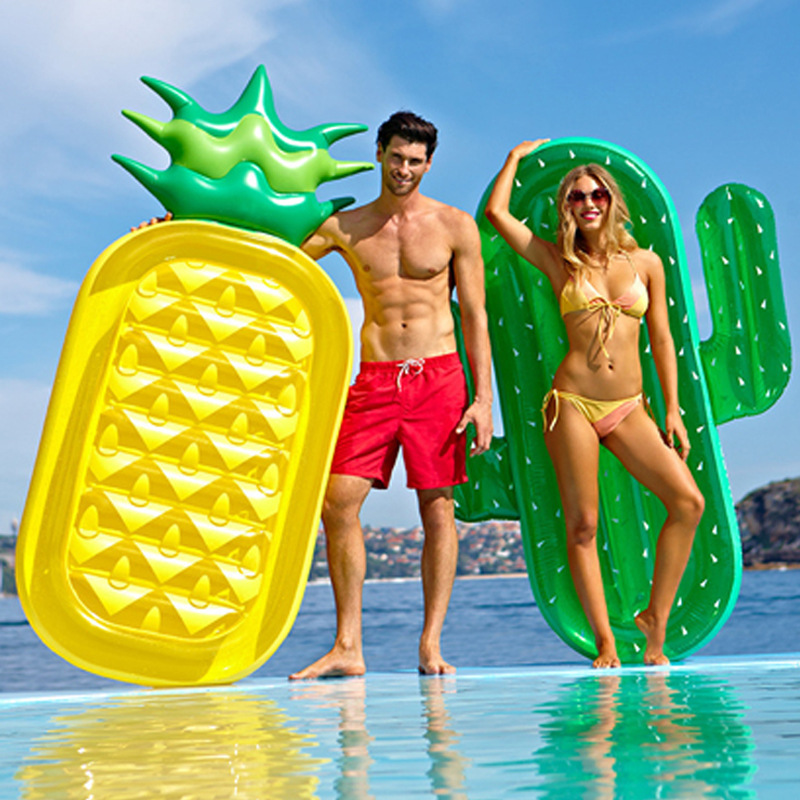185cm Inflatable Giant Pool Float Mattress Toys Watermelon Pineapple Cactus Beach Swimming Ring Fruit Floatie Air Mattress