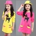 Estilo de outono/Primavera vestido da menina do bebê do algodão Padrão de vestido infantil de roupas meninas vestido de princesa menina roupa dos miúdos vestido em linha reta