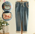 Size Sen female line 2014 Hitz Japanese personality owl decorative embroidery patch jeans trousers nifty free shipping