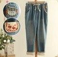 Tamaño línea para mujer Sen 2014 Hitz japonesa personalidad búho bordado decorativo patch jeans pantalones envío gratis ingenioso