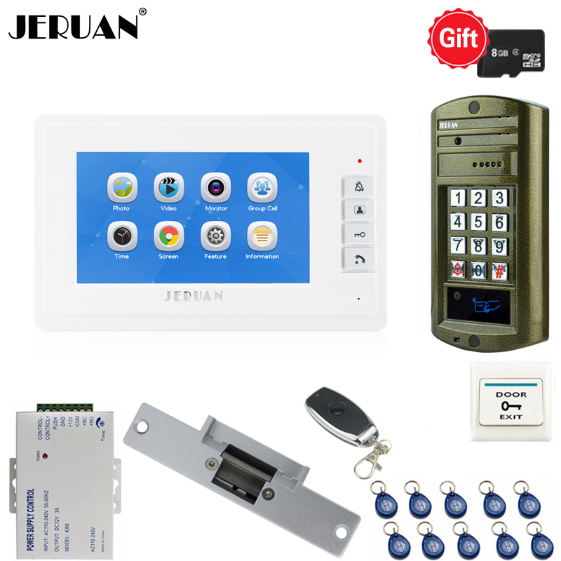 Home Video Door Phone Voice/Video Recording Intercom System kit With 7 inch Monitor+ Waterproof password Access Mini Camera jeruan home 7 video door phone intercom system kit rfid waterproof touch key password keypad camera remote control in stock