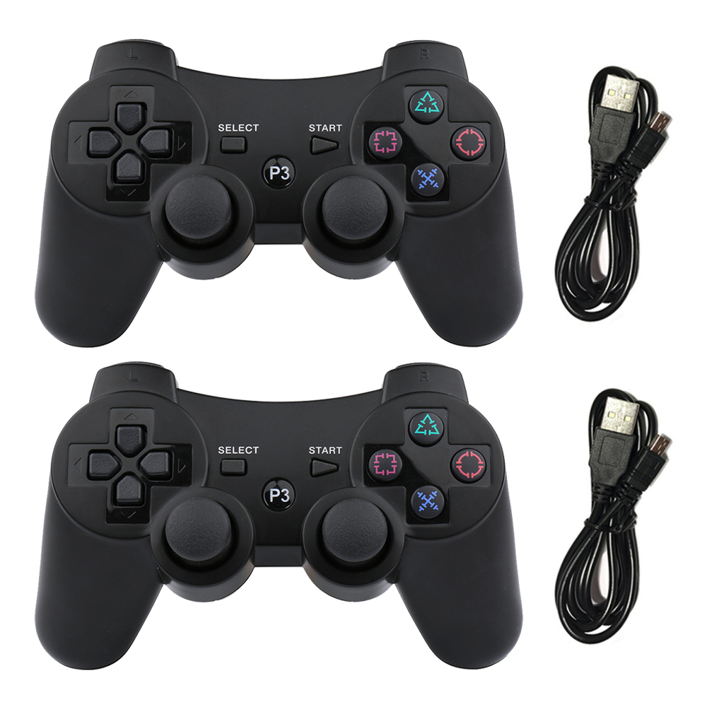 2PCS Wireless Bluetooth Game Controller Joystick Gamepad with USB Cable for PS3