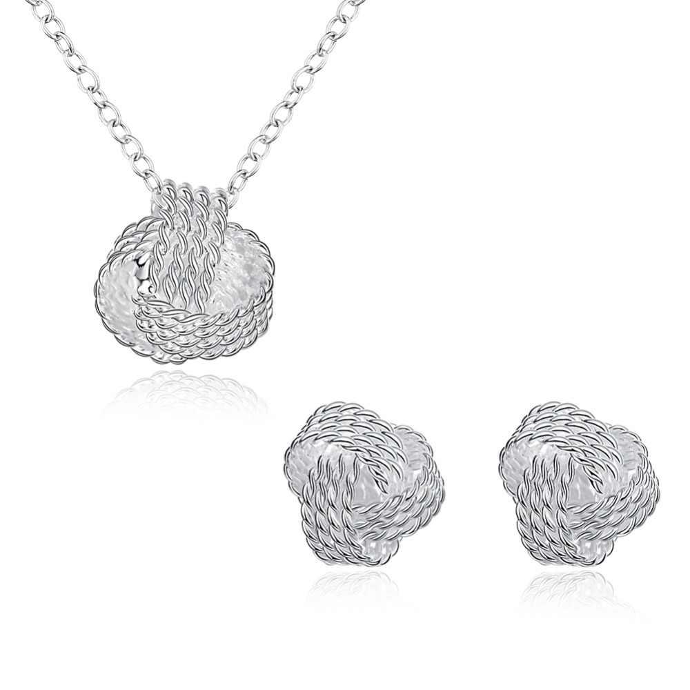 Novedad en juegos de joyas para mujer chapados en plata, colgante de collar de malla con bola, pendientes de tuerca chapados en plata, conjuntos de joyas para boda