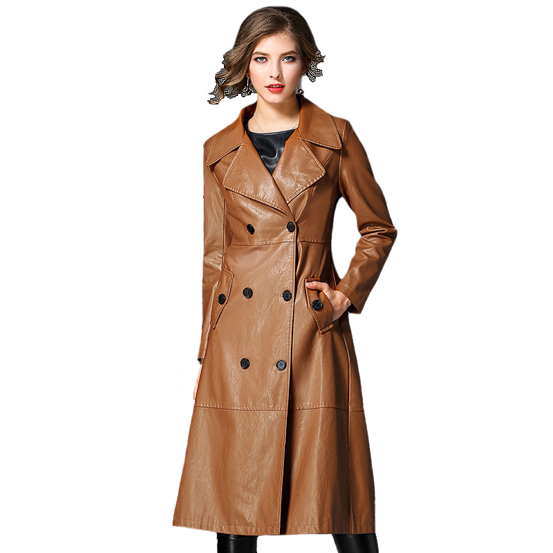 Autumn Winter Leather   Trench   Coat Slim Female Long Coats PU Outerwear Long Leather   Trench   Coat Women 2018 New Plus Size M-3XL