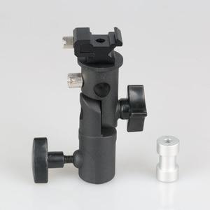 """Image 2 - E Typ Metall Halterung Universal Heißer Schuh Speedlite Regenschirm Halter Mit 1/4 """"bis 3/8"""" Schraube Montieren Swivel adapter Licht Stehen"""