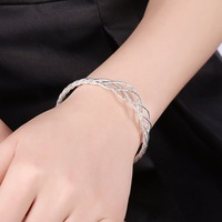 925 Sterling Silver Wristband Wire Knot Bracelets Bangles Adjustable Open Cuff Bangle Gift Box For Women