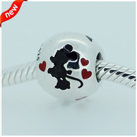 MINNIE MICKEY SILVER CHARM WITH BLACK AND RED ENAMEL DIY Beads 925 Sterling SilverJewelry Fit For