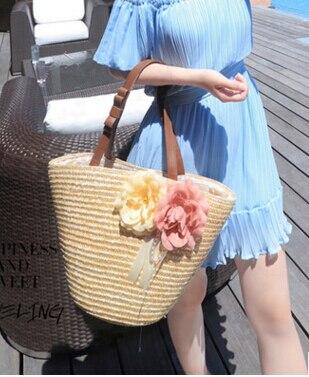 Японский 2 цветы рукой от плеча мешок соломы моды пляж приморский пляжная сумка дорожная сумка, сумочка