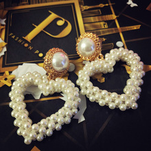 2019 New Brand Design Fashion Women Jewelry Handmade Pearls Love Heart-shaped Big Drop Statement Luxury Earrings Boho Jewelry heart design drop earrings