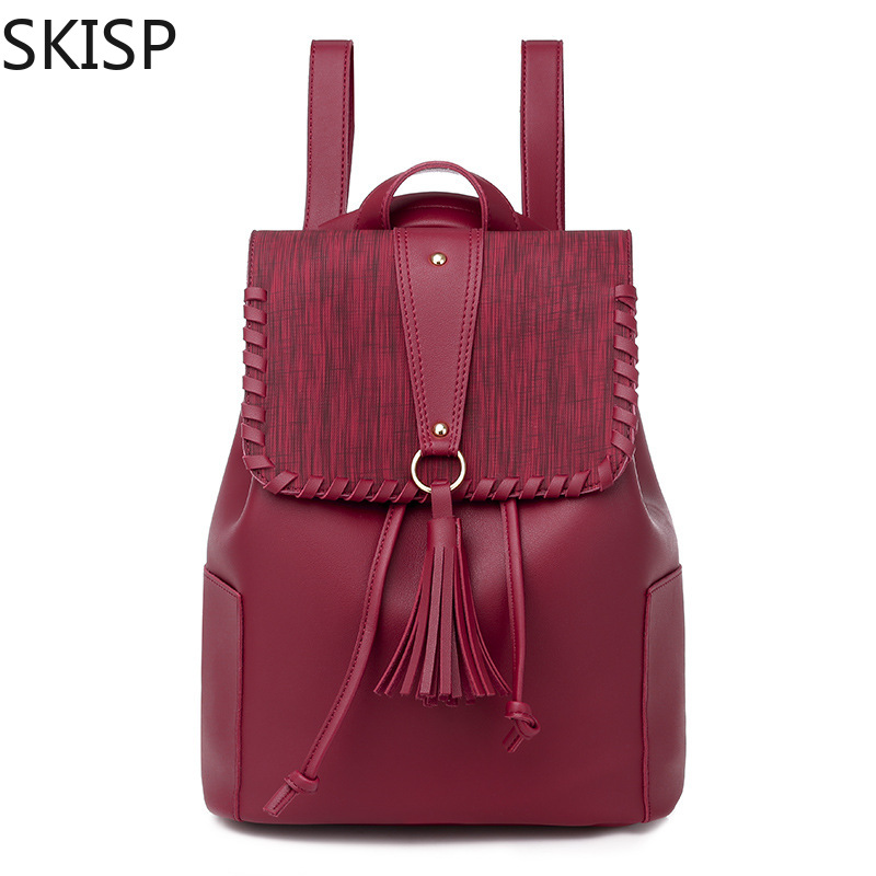 Fashion Women Backpack High Quality Youth Pu Leather Backpack for Teenage Girls Female School Solid Shoulder Bag Bagpack mochila