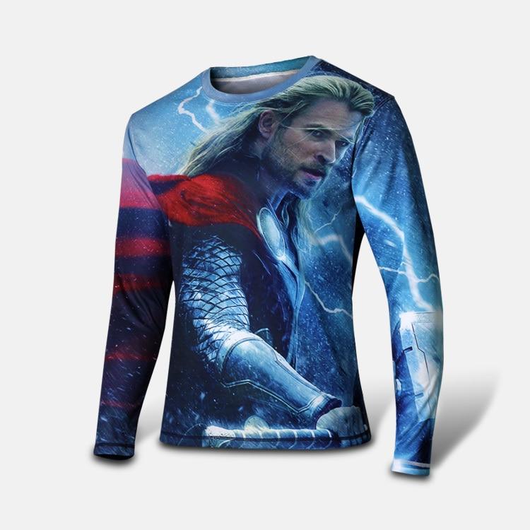 f14ec5640cc6 Thor T-shirt O-neck Tees LONG SLEEVE Thor:The Dark World The Avengers  Justice League DC&Marvel Comic Summer Fashion Casual
