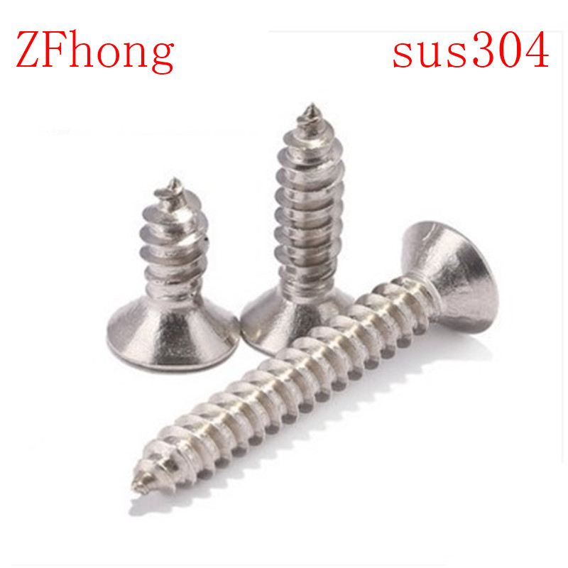 100pcs M3 M3.5 M4 304 Stainless Steel Countersunk Cross Head Self Tapping Screws 50 pieces metric m4 zinc plated steel countersunk washers 4 x 2 x13 8mm