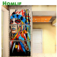 5d Diy Diamond Painting Beauty Native American Indian Girl Feathered 3d Diy Diamond Painting Round Square