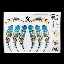 1pc Flash Metallic Tattoo Silver Gold Waterproof YH-083 Indian Tribal Blue Feather Eyes Temporary Tattoo Paste Sticker Paper