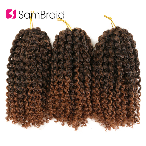 SAMBRAID kinky Twist Hair Crochet Braids 8 inches Curly Crochet Hair Ombre Braiding Hair Marlybob Synthetic Hair Extensions Pakistan