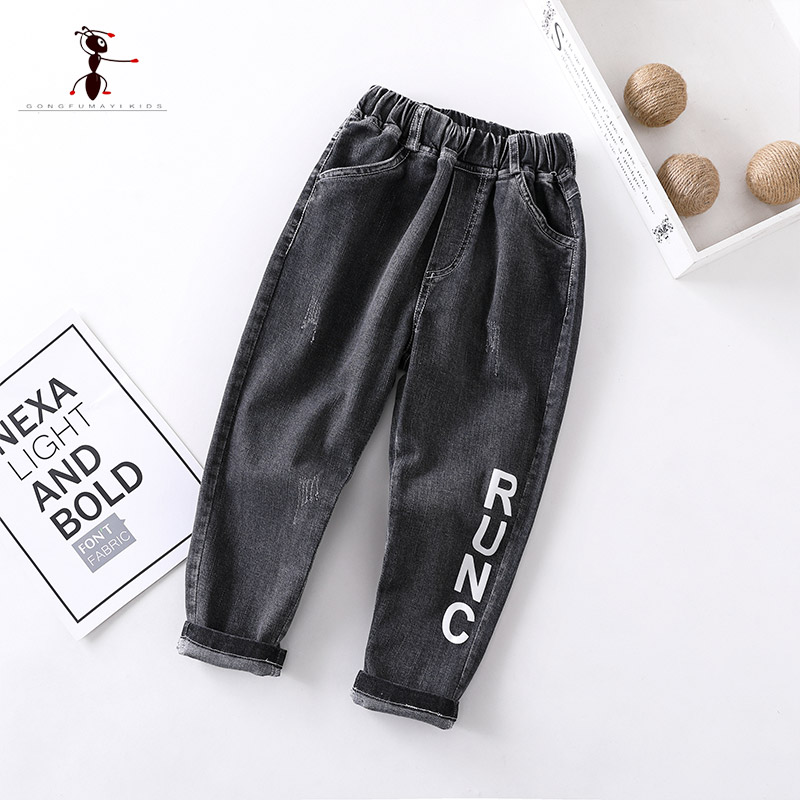 2019 Spring Autumn Full Length Elastic Force  Black Blue Boys Casual Jeans  4T-110T Big Pocket Leisure childrens Pants 34052019 Spring Autumn Full Length Elastic Force  Black Blue Boys Casual Jeans  4T-110T Big Pocket Leisure childrens Pants 3405