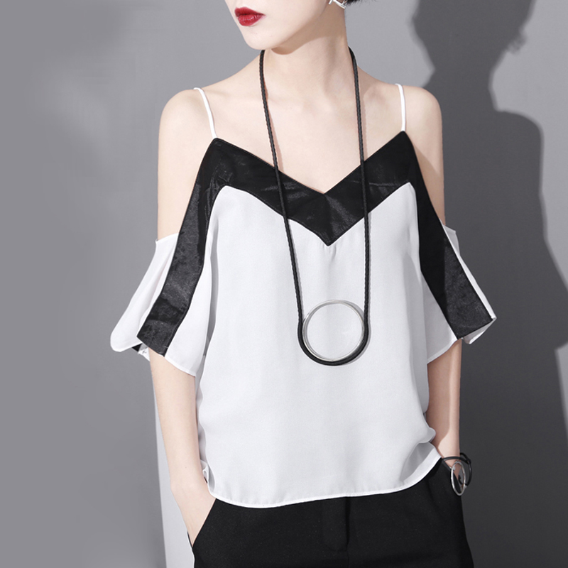 2016 New Summer Clothes Women Camis Europe Fashion Slim Chiffon Camis Sexy Backless v-Neck classic black and white hit colors