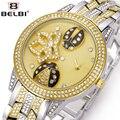 2016 Moda Reloj de Señoras Rhinestone Beatles Belbi Dial Acero Correa de reloj de Cuarzo de Las Mujeres Reloj de la Marca de Lujo Boutique de la Muchacha Relojes