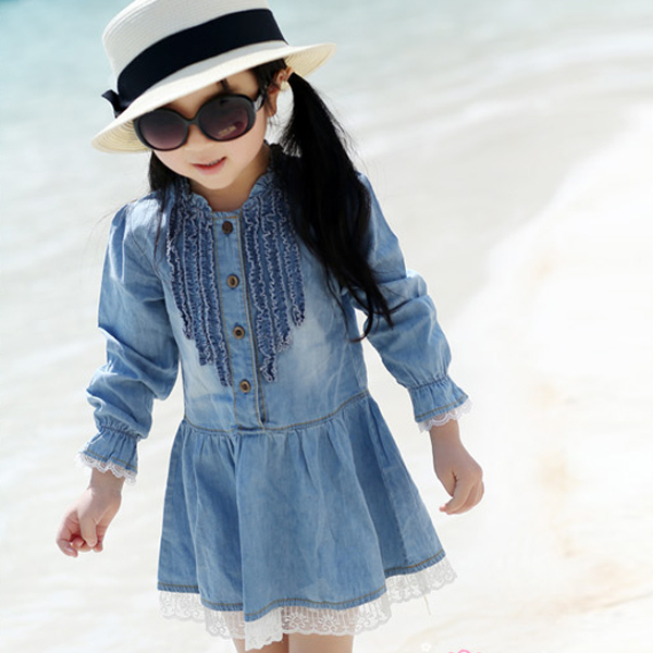 2-7Y Kids Girls Cowboy Dresss Toddlers Fashion Buttons Demin Baby Tops Shirts Dresses 2018