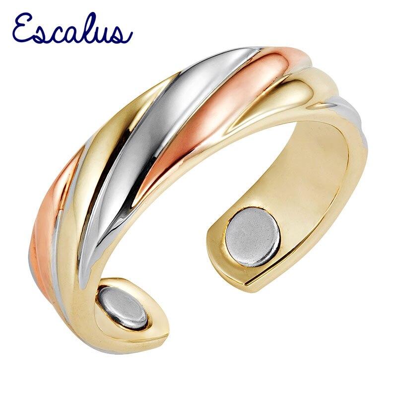 Escalus 2019 Módní dámské prsteny 3-tónové zlato Stříbro Růže Zlato Bio energie Magnetický prsten Přizpůsobitelný ženský magnet Šperky Prst