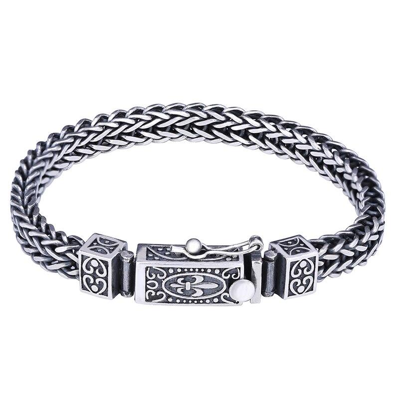 Vintage Solid Silver 925 Woven Chain Bracelet Men 100% Genuine Sterling Silver 925 Fluer De Lis Vine Cool Mens Silver Jewlery