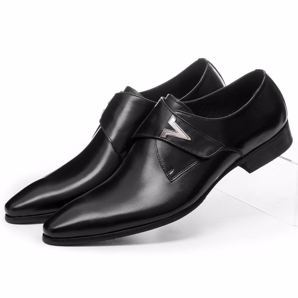 Mode Braun Tan Schwarz Herren Business Schuhe Aus Echtem Leder