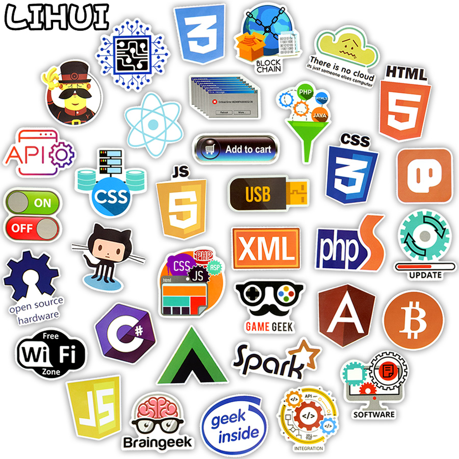 US $4 24 15% OFF|100 PCS Internet Programming Language Stickers Java Html  Logo Funny Waterproof Sticker for Geeks Hackers to DIY Laptop Phone Car-in
