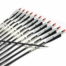 12Pcs 31″ Spine 500 Archery Carbon Arrow For Shooting Recurve Bow 25-45lbs