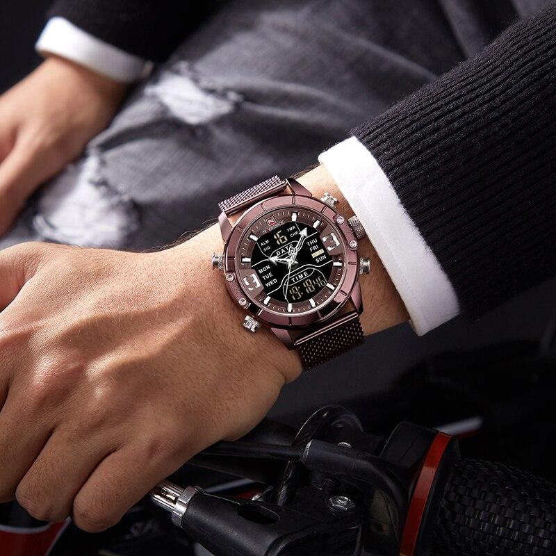 NAVIFORCE hommes montre Top marque de luxe homme Sport militaire montres à Quartz en acier inoxydable LED horloge numérique Relogio Masculino - 6
