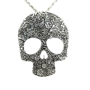 Vintage Skull Gothic Pendant Charm Necklace Classic Jewelry