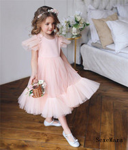 цена на New Pink Tulle Girls Dresses for Party A Line O Neck Zipper Back Kids Children Birthday Dress Pageant Gown Size 2-16Y