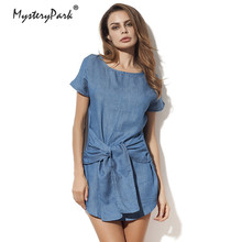 f06a58c815 MysteryPark Women Jeans Dress 2018 Summer Mini Sexy Hip Denim Dress Slim  Casual Bodycon Tunic Dresses
