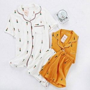 Image 3 - Kadın pijama takımı yaz konfor gazlı bez pamuk turn aşağı yaka pijama seti bayanlar ince gevşek karikatür havuç baskılı ev tekstili