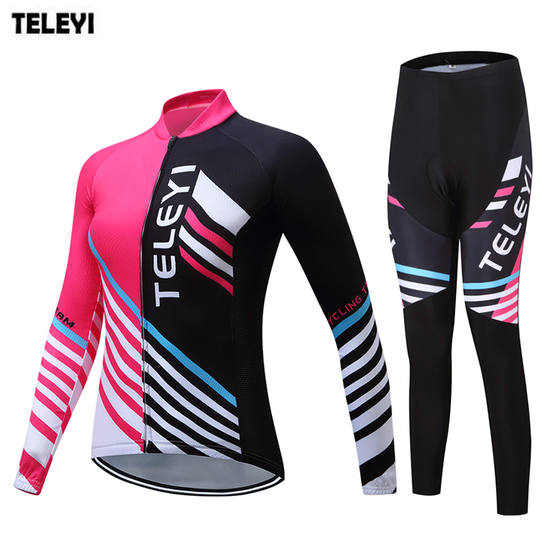 TELEYI womens Ropa Ciclismo long sleeve cycling jersey sets bicycle clothes bib pants paded road bike clothing suit S-XXXL teleyi men cycling jersey bike long sleeve outdoor bike jersey bicycle clothing wear breathable padded bib pants set s 4xl