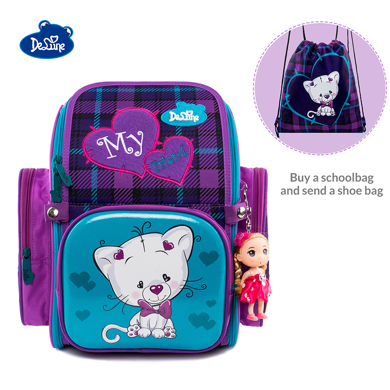 2019 Delune Cat Print School Bag Girls Orthopedic Children Fold Satchel Backpack School Shoes change Bag