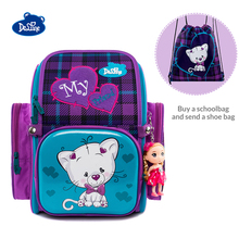 2019 Delune Cat Print School Bag Girls Orthopedic Children Fold Satchel Backpack