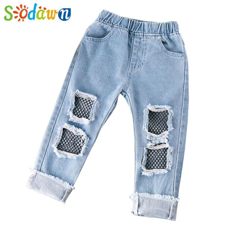 Sodawn New Baby Girls Clothes Denim Pants Summer Fashion Hole Net Yarn Jeans Of The Girls Denim Pants Children Kids Pants