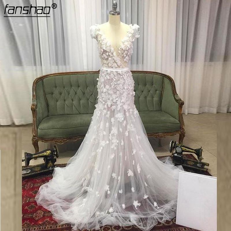 2019 Muslim Wedding Dresses Tulle Applique Flowers Mermaid Illusion Vestido De Noiva Boho Dubai Arabic Wedding Gown Bridal