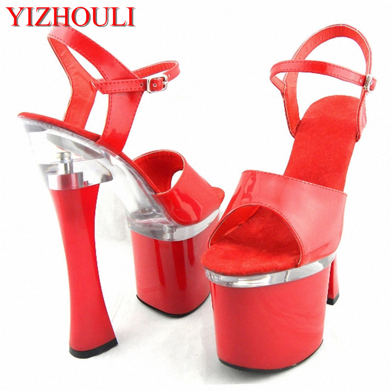 Stylish 18cm Super Thick High Heels Platforms Pole Dance / Performance / Star / Model Shoes, Wedding Shoes 15cm sexy super high heel platforms pole dance performance star model shoes wedding shoes crystal shoes