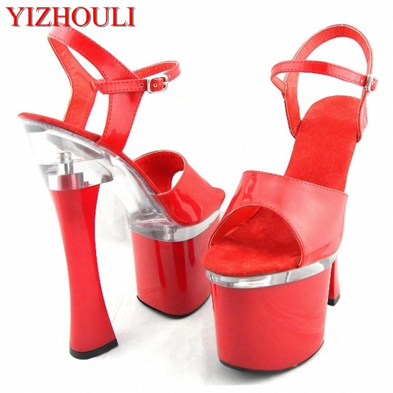 Stylish Crystal 14CM Sexy Super High Heel Platforms Pole Dance   Performance    Star   Model Shoes 01f98f6e0573