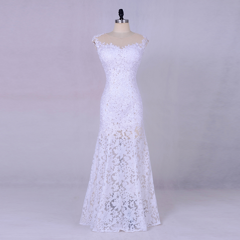 Simple Lace Mermaid Wedding Dresses 2019 Robe De Mariee Floor Length Bridal Dress Sheer Illusion Cap Sleeves China Custom Made