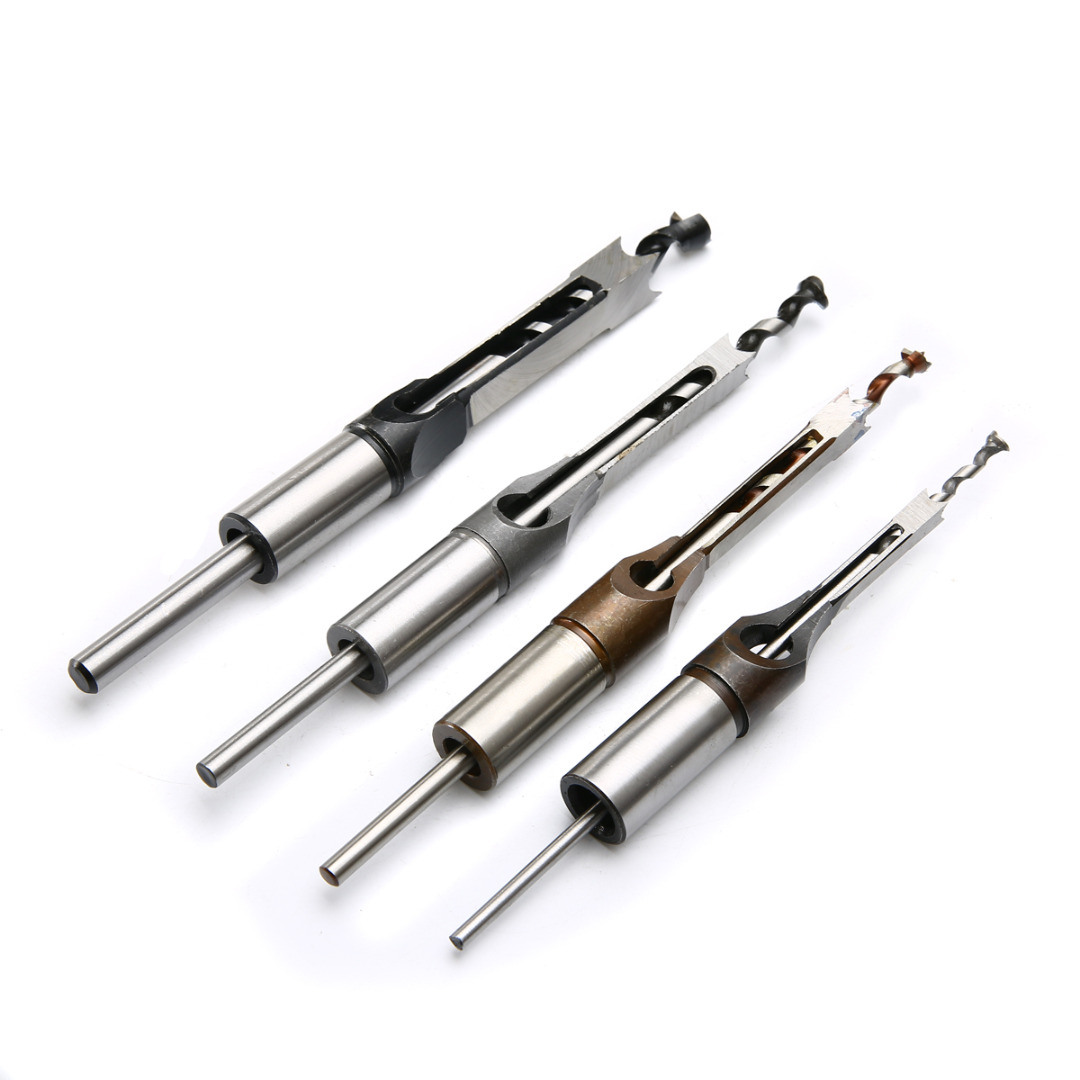 4pc HSS Twist Drill Bits Set Mortising Chisel Set Square Hole Mortiser Drill Bit for Woodworking Drilling Tools 4pcs woodworking square hole drill bits wood mortising chisel set mortise chisel bit kits woodworking hole saw sets with twist