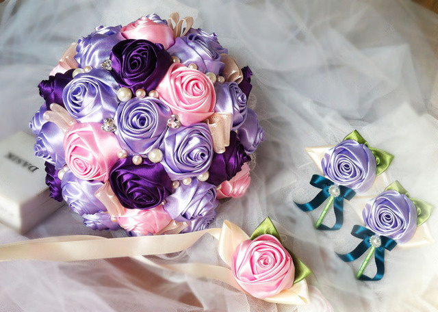 2017 Bridal Bridesmaid Wedding Bouquet Cheap New Luxury Crystal Purple&Pink Handmade Artificial Rose Flower Bridal Bouquets