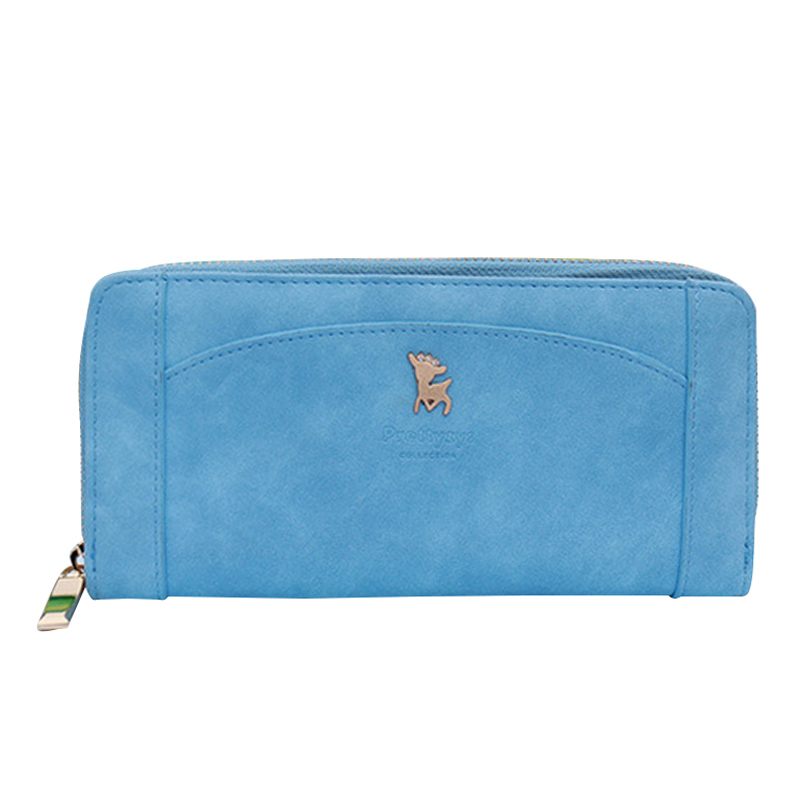 New College Girl Fashion Candy Color Matte Deer Wallet PU Leather Long Wallet Snap Zip Multi-Card Purse Female Card Slots