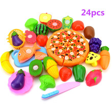 23Pcs/Set Simulation Plastic Fruit Vegetables Cutting Toy with Basket Kitchen Pretend Play Early Educational Toys