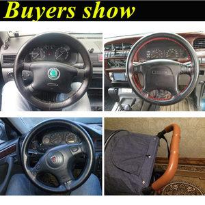 Image 2 - GSPSCN DIY Echt Leer Auto Stuurhoes Soft Anti slip 100% Koeienhuid Vlecht Met Naalden Discussie 36 38 40 cm Grootte